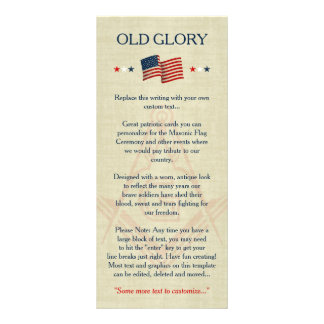 Masonic Old Glory Flag Cards, Freemason Patriotic Full Color Rack Card