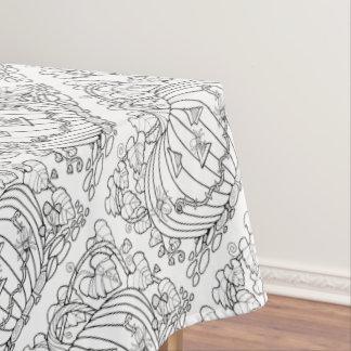 Masquerade Pumpkin Spiders Line Art Design Tablecloth