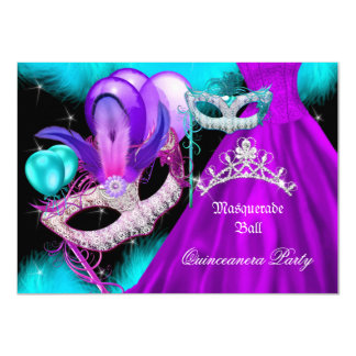Masquerade Quinceanera 15 Party Teal Purple 4.5x6.25 Paper Invitation Card