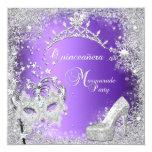 Masquerade Quinceanera 15th Purple Tiara Shoe Invite