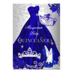 Masquerade Quinceanera Blue Silver Dress Heels 13 Cm X 18 Cm Invitation Card