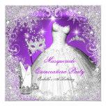 Masquerade Quinceanera Purple Silver Snowflakes 13 Cm X 13 Cm Square Invitation Card