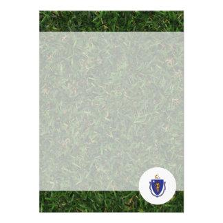Massachusetts Flag on Grass 13 Cm X 18 Cm Invitation Card