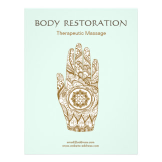 Massage Therapist Henna Hand Lotus Flyer
