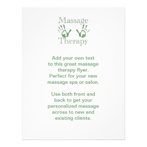 Massage therapy hand prints flyer design