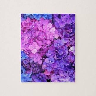 Massive bunch of purple and blue hydrangeas jigsaw puzzle