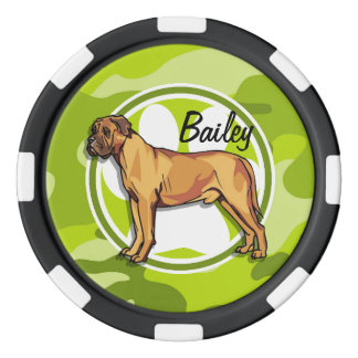 Mastiff; bright green camo, camouflage poker chips