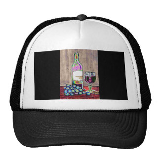 Matching Hat Modern Wine Art Design