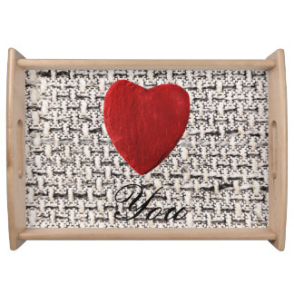 Material background Love you Serving Tray