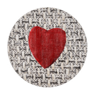 Material background with heart cutting board