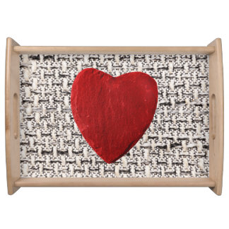 Material background with heart serving tray