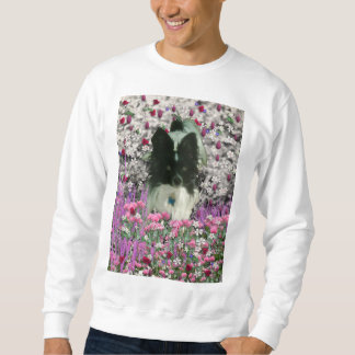 Matisse in Flowers - White & Black Papillon Dog Sweatshirt