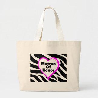 Matron Of Honor (Heart Zebra Stripes) Jumbo Tote Bag