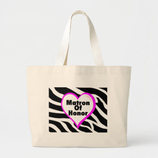 Matron Of Honor (Heart Zebra Stripes) Large Tote Bag