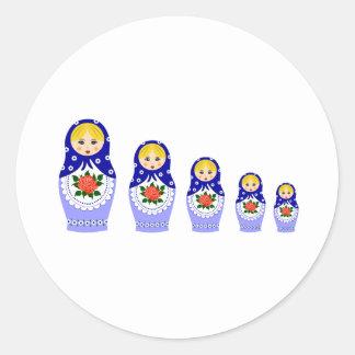 Matryoschka dolls blue classic round sticker