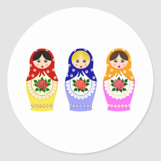 Matryoschka dolls round sticker