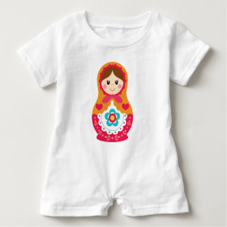 Matryoshka Romper - Red and Orange Baby Bodysuit