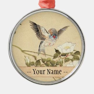 Matsumoto Keibun Bird and Flower Album Zebra Finch Christmas Ornament