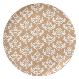 Matt Bronze Brown and white damask plate