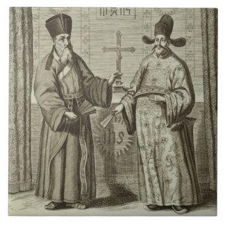 Matteo Ricci (1552-1610) and Paulus Li, from 'Chin Tile