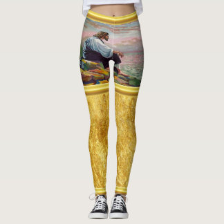 Matthew 14:22-23 Jesus Prays by Himself by the sea Leggings