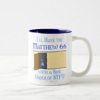 Matthew 6:6 Two-Tone coffee mug
