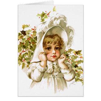 Maud Humphrey: Autumn Girl with Holly Card