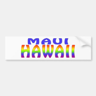 Maui Hawaii rainbow words Bumper Sticker