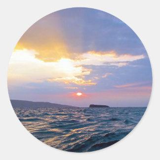 Maui sunset classic round sticker