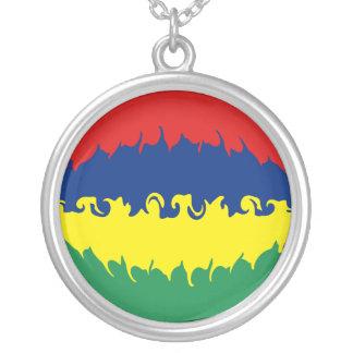 Mauritius Gnarly Flag Round Pendant Necklace