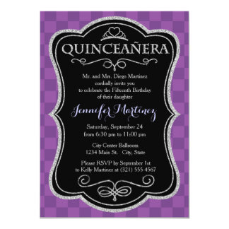 Mauve and Dark Violet Purple Checkered Squares Invitation