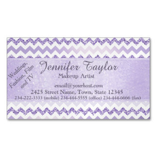 Mauve Chevron Zigzag Glitter Magnetic Cards Magnetic Business Cards