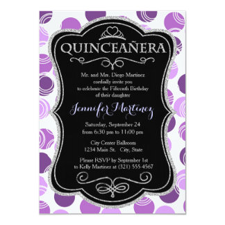 Mauve, Violet Purple, and White Polka Dots, Circle Invitations