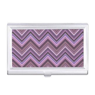 Mauve zigzag stripes business card holders