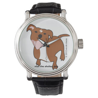Max | Floppy Ears Black Vintage Leather Watch