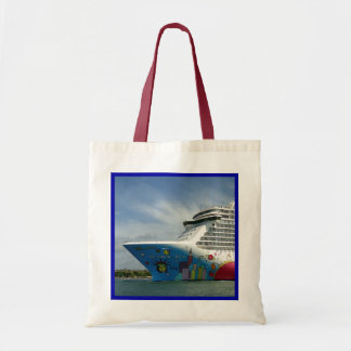 Maxed Out Bow Blue Border Tote Bag