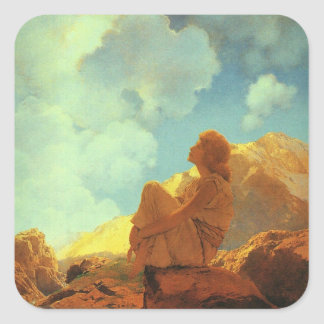Maxfield Parrish Morning (Spring) Vintage Art Square Sticker