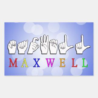 MAXWELL FINGERSPELLED NAME SIGN RECTANGULAR STICKER