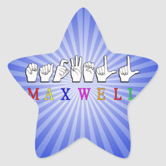 MAXWELL FINGERSPELLED NAME SIGN STAR STICKER