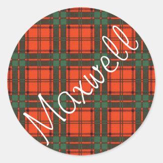 Maxwell Scottish clan tartan Classic Round Sticker