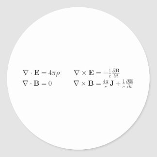 Maxwell's equations, differential form, cgs classic round sticker