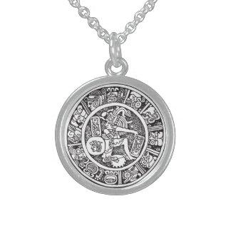 Mayan circle, Mexican hieroglyph(Maya) Sterling Silver Necklace