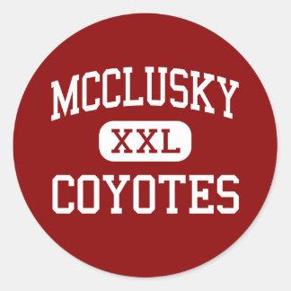 McClusky - Coyotes - High - McClusky North Dakota Classic Round Sticker