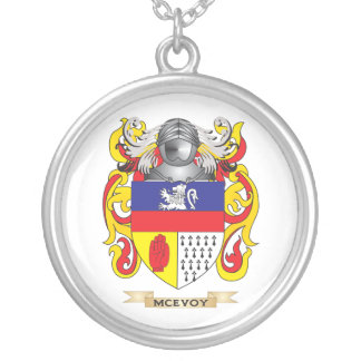 McEvoy Coat of Arms (Family Crest) Silver Plated Necklace