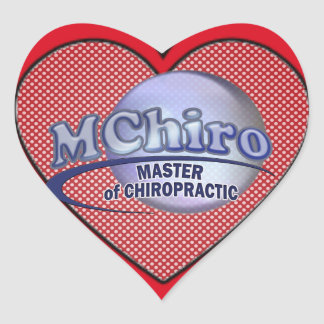 MChiro Master of Chiropractic Medicine Blue Logo Heart Sticker