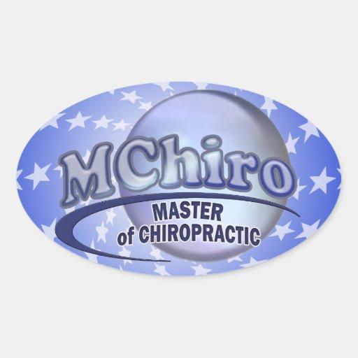 MChiro Master of Chiropractic Medicine Blue Logo Oval Stickers