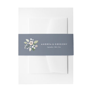 Meadow Blooms Invitation Belly Band - navy