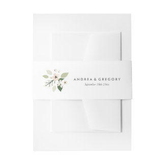 Meadow Blooms Invitation Belly Band - white