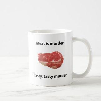 Meat is murder basic white mug