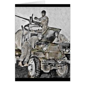 Mechanics Working on Truck WWII Card